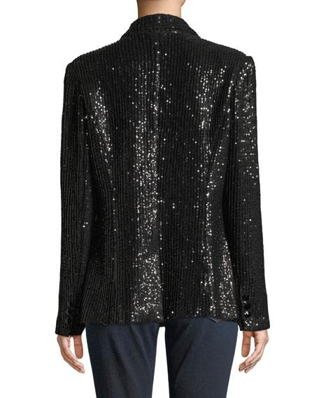 Plus Size Two-Button Notch-Lapel Sequined Blazer