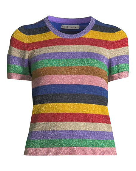 Baylor Short-Sleeve Striped Crewneck Top
