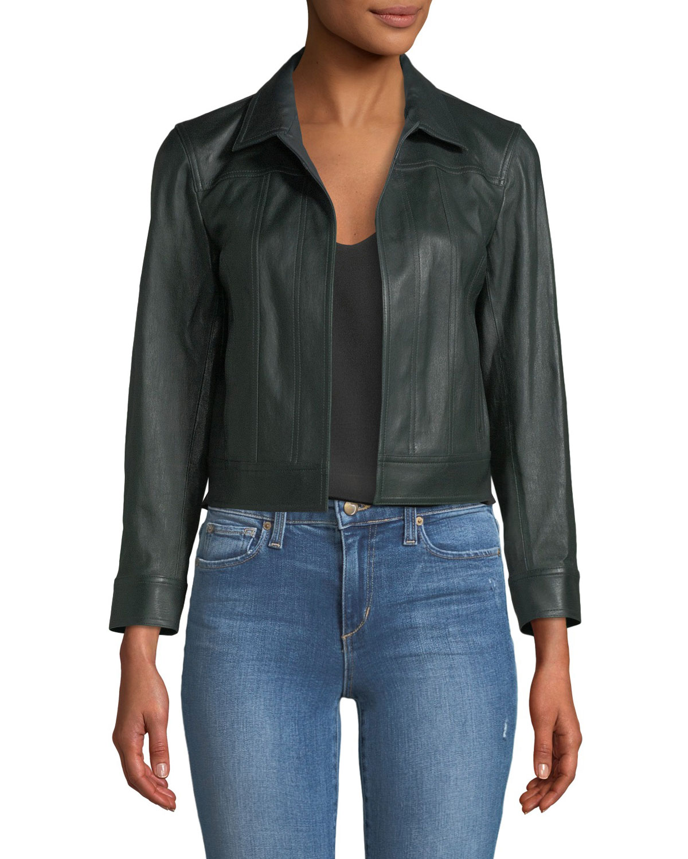 2112eb9006 Theory Shrunken Open-Front Leather Jacket | Neiman Marcus