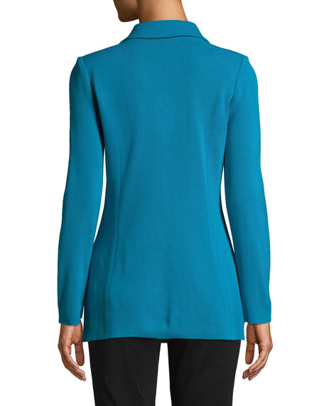 Misook Dressed Up Button-Front Jacket, Peacock Blue