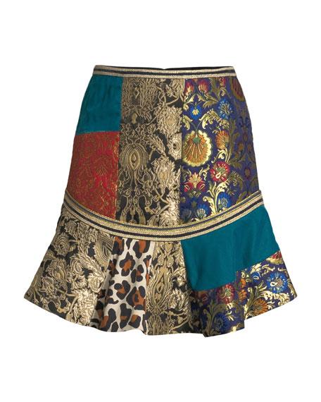Eriko Mixed-Print Flounce Mini Skirt