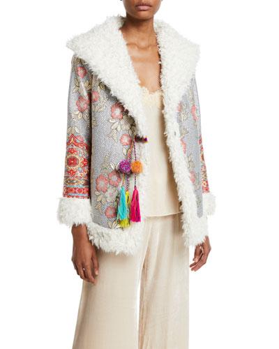 Quarda Embroidered Faux-Fur Coat, Petite