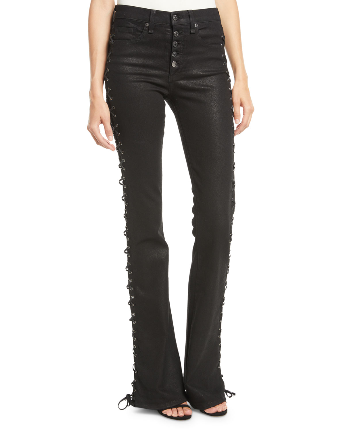 bfdf96426e Veronica Beard Beverly Lace-Up Skinny Flare-Leg Jeans
