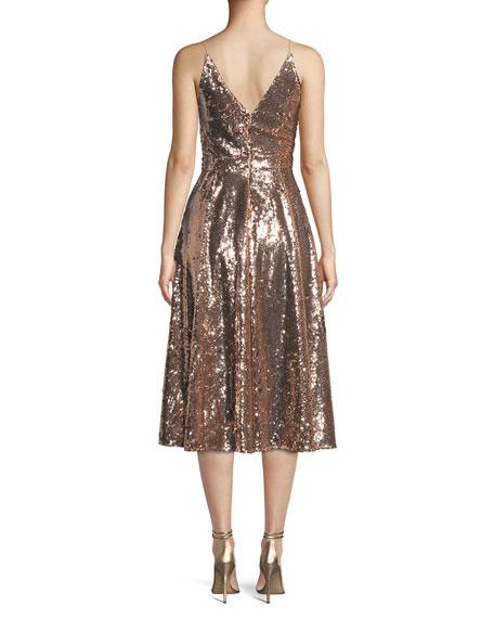 Jay Godfrey Sequin Midi Cocktail Dress w/ Full Skirt