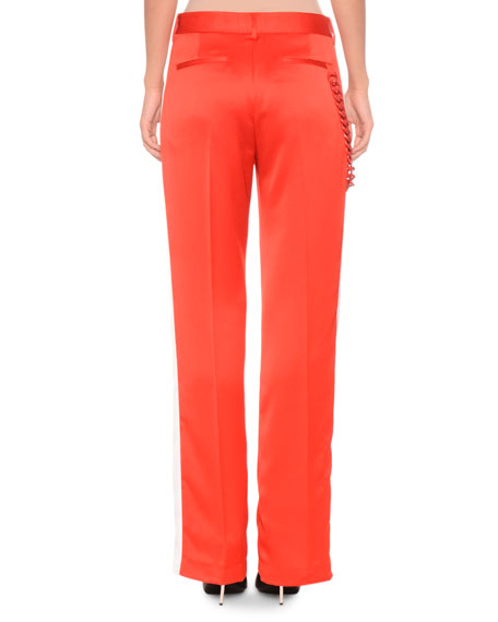 Side-Stripe Satin Pants w/ Chain Detail