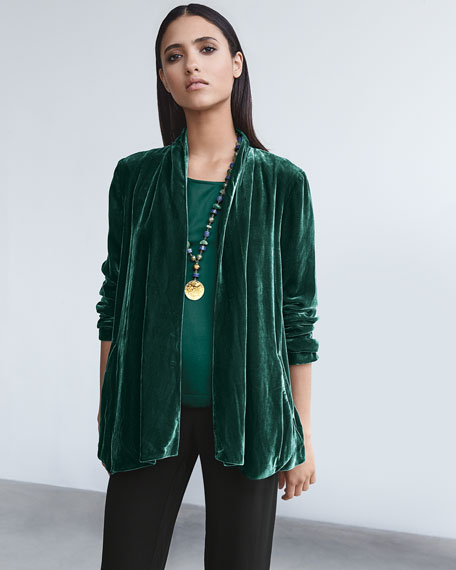 Image 2 of 3: Eileen Fisher Plus Size Velvet Open-Front Jacket