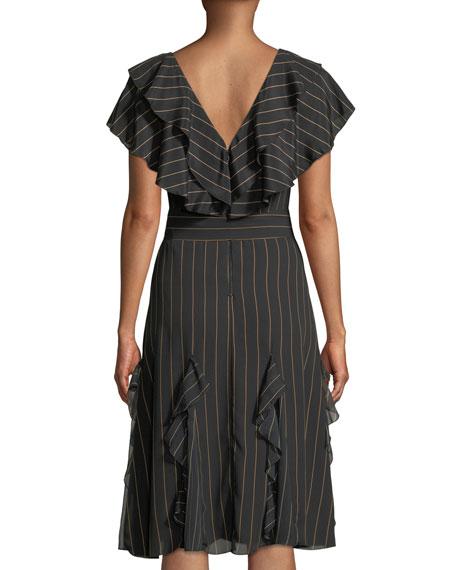 Alice + Olivia Tessa Striped Ruffle Godet Midi Dress