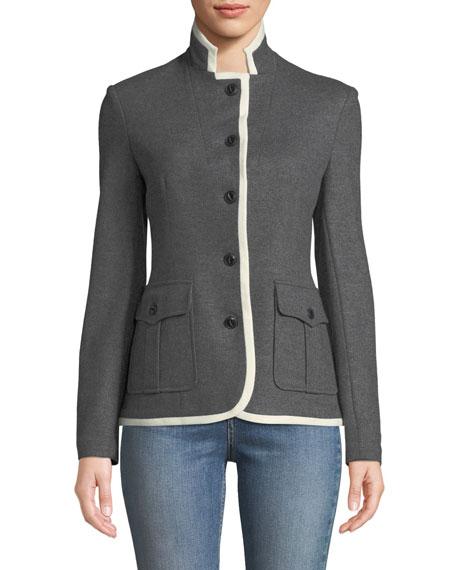Uni Button-Front Wool Blazer