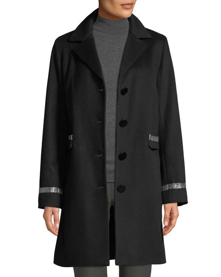 Image 3 of 4: Sofia Cashmere Single-Breasted Car Coat w/ Metallic Details