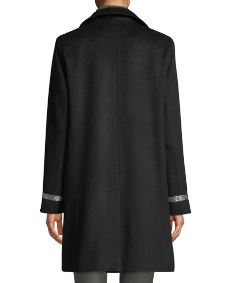 Image 4 of 4: Sofia Cashmere Single-Breasted Car Coat w/ Metallic Details