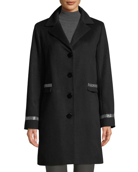 Image 1 of 4: Sofia Cashmere Single-Breasted Car Coat w/ Metallic Details