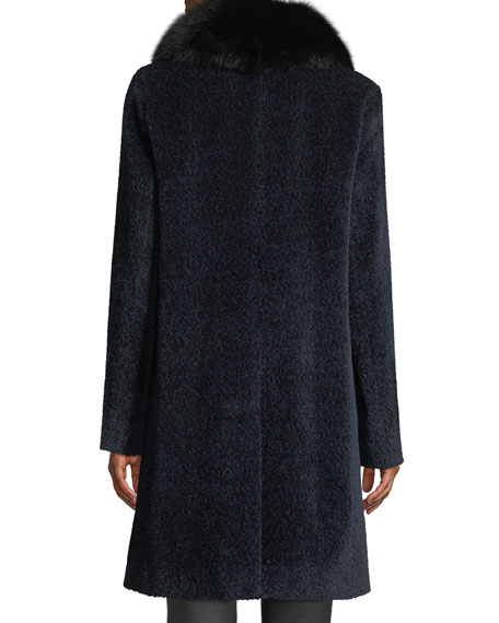 Image 3 of 4: Sofia Cashmere Cocoon Button Coat w/ Fur Collar
