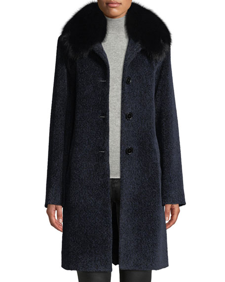 Image 4 of 4: Sofia Cashmere Cocoon Button Coat w/ Fur Collar
