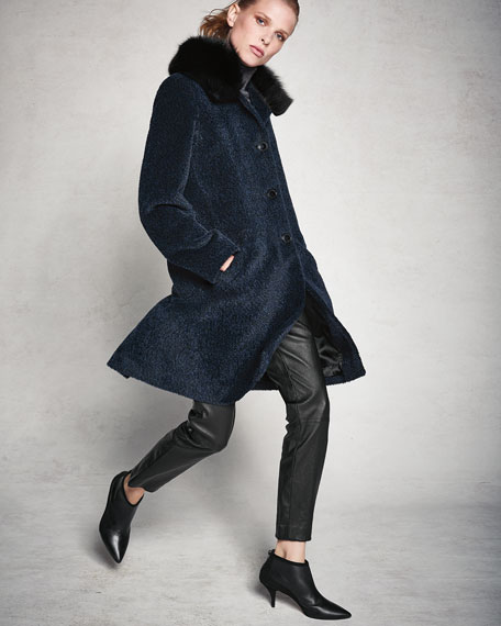 Image 2 of 4: Sofia Cashmere Cocoon Button Coat w/ Fur Collar