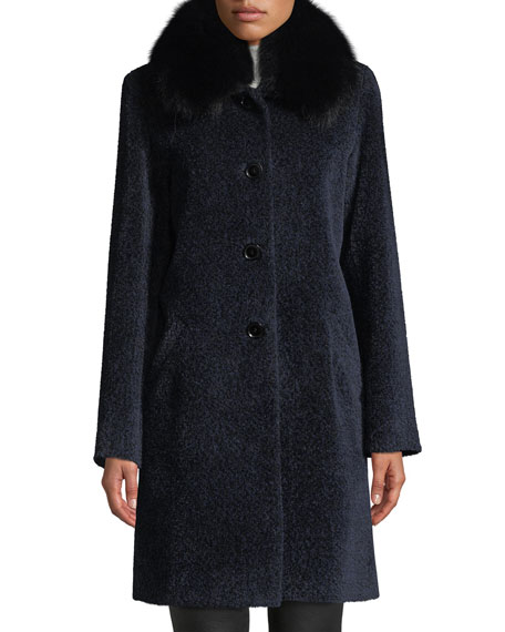 Image 1 of 4: Sofia Cashmere Cocoon Button Coat w/ Fur Collar