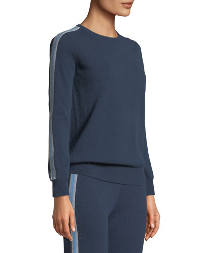 Sporty Cashmere Pullover Sweater with Racer Stripes