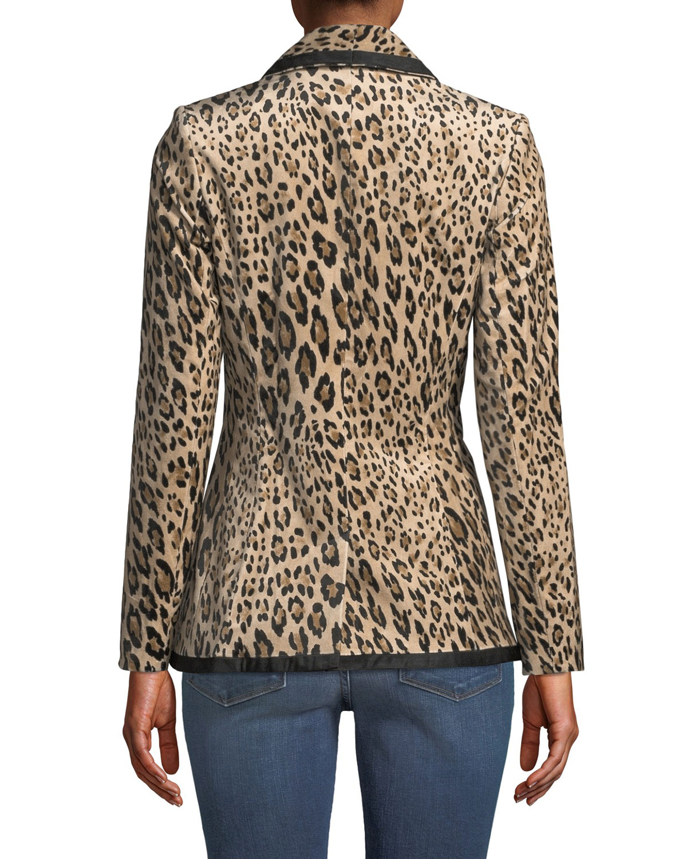 77cbd3a581fb FRAME Fitted Button-Front Leopard-Print Velvet Jacket | Neiman Marcus