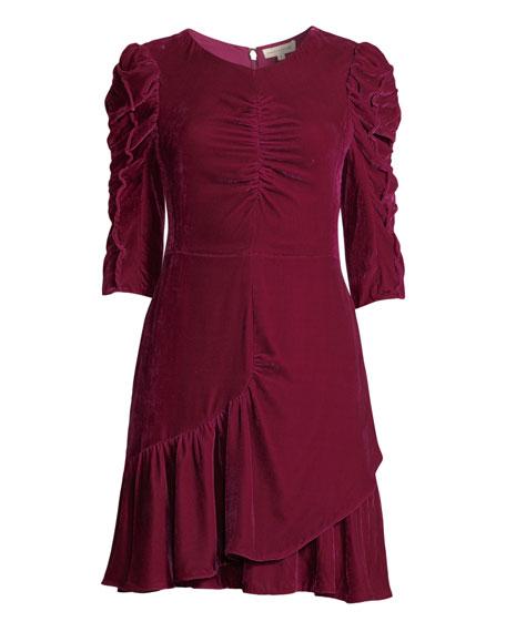 Ruched Velvet 3/4-Sleeve Flounce Dress