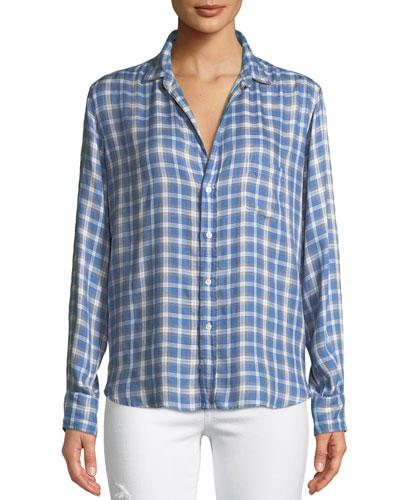 Eileen Long-Sleeve Button-Front Check-Print Modal Shirt