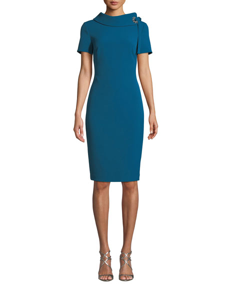 Badgley Mischka Collection Tie-Neck Short-Sleeve Sheath Dress