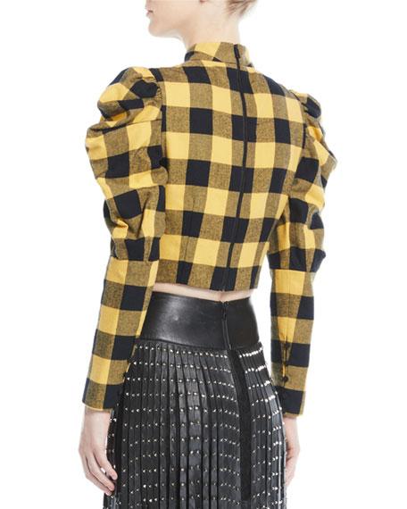 Alice + Olivia Brenna Check Puff-Sleeve Top
