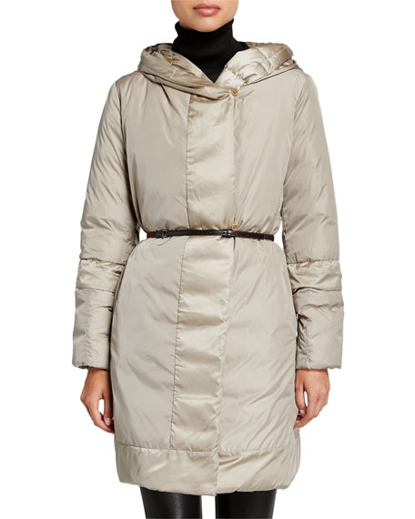 Max Mara The Cube Here is the Cube Collection Novef Reversible Belted Down Jacket