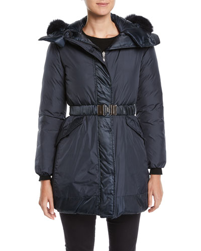 Here is the Cube Collection Novecar Reversible Belted Down Jacket