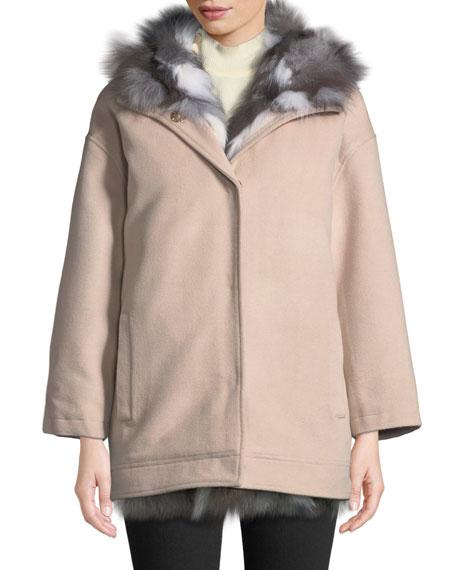 Belle Fare Detachable Fur-Lined Hooded Wool Jacket