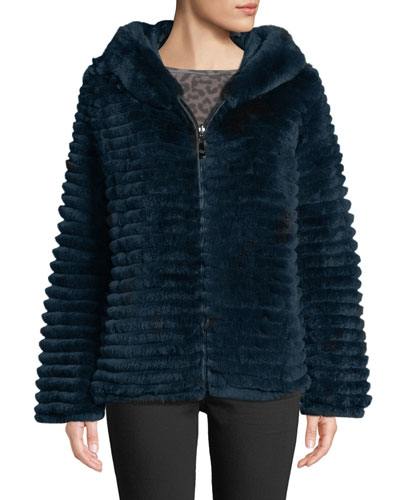 Reversible Fur & Down Jacket w/ hood