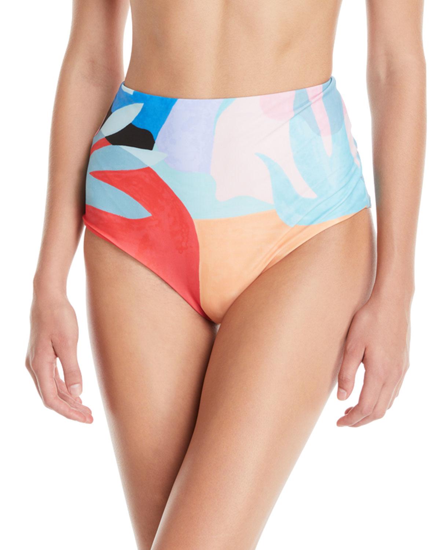 03290f8d9 Mara Hoffman Lydia High-Waist Brushed Colorblock Bikini Bottoms ...