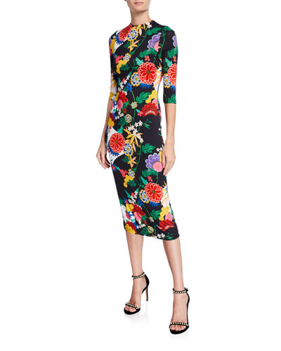 Delora Long-Sleeve Floral Fitted Sheath Midi Dress