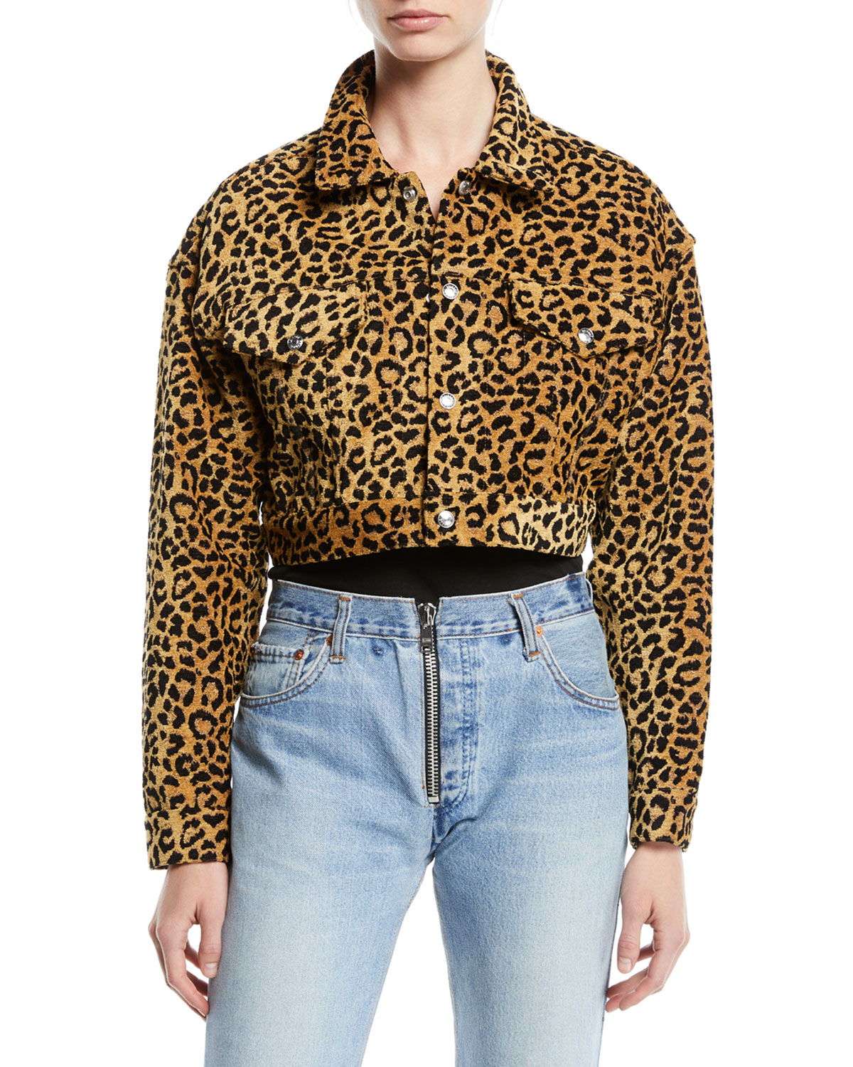 44c492ad6637 RE/DONE Leopard-Print Cropped Jacket | Neiman Marcus