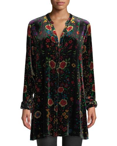 Petite Easy Embroidered Velvet Tunic