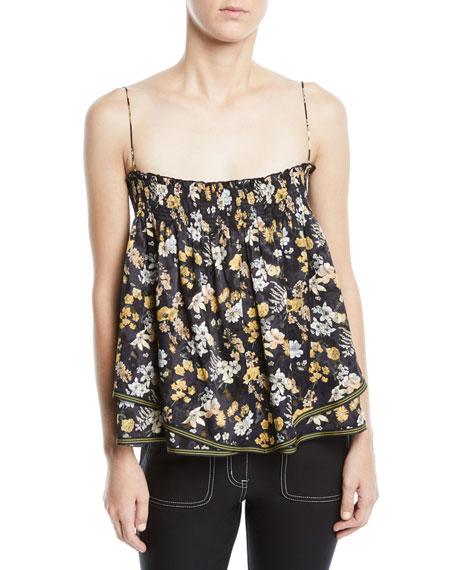 Derek Lam 10 Crosby Tiered Floral-Print Silk Cami Skirt