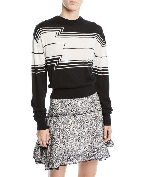Derek Lam 10 Crosby Zig-Stripe Wool/Silk Knit Pullover Sweater