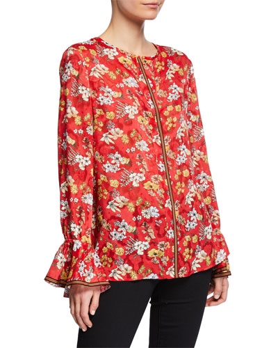405a1cc0bef7d5 Floral-Print Long-Sleeve Silk Blouse