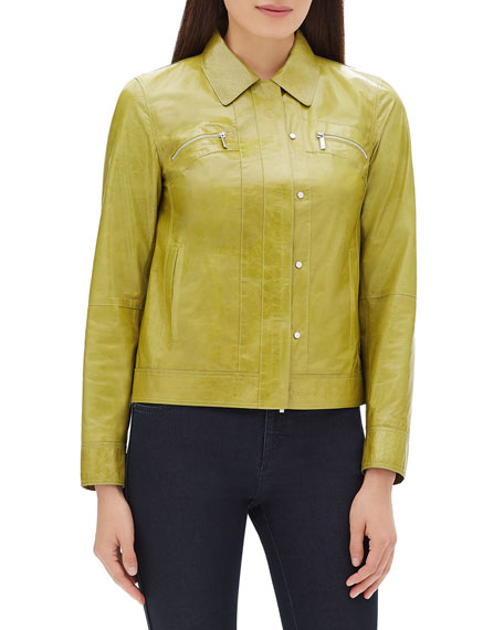 Lafayette 148 New York Kesha Zip-Front Lacquered Lambskin Leather Jacket
