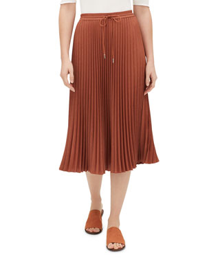 3ed459b213 Lafayette 148 New York Gwenda Kensington Cloth Pleated Skirt w/ Drawstring  Waist