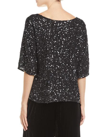 Eileen Fisher Half-Sleeve Encrusted Sparkle Top