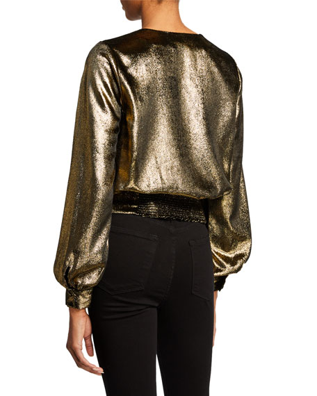 FRAME Smocked Metallic Surplice Long-Sleeve Top