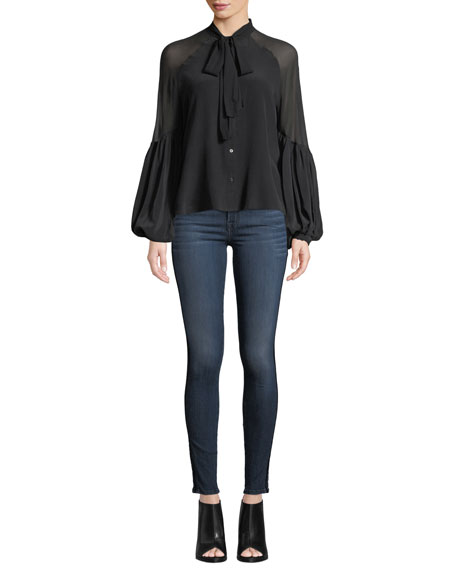 7 For All Mankind The Ankle Skinny Jeans with Velvet Stripes