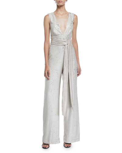 Chrissy Sequin V-Neck Jumpsuit