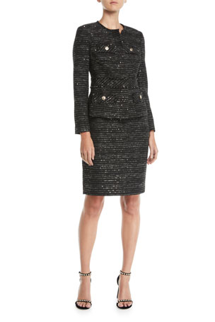 Albert Nipon Tweed Two-Piece Jacket & Skirt Suit Set