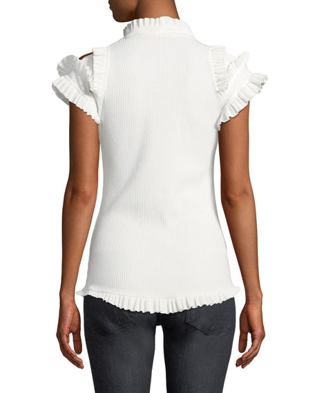 Maggie Marilyn Dreaming Of You Ribbed Ruffle Cold-Shoulder Top