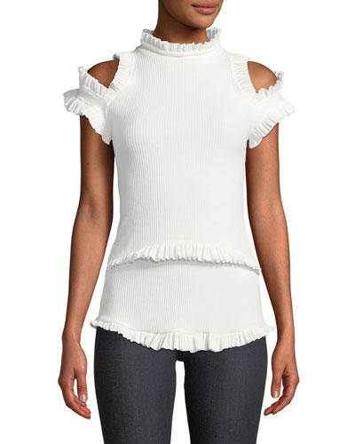 Dreaming Of You Ribbed Ruffle Cold-Shoulder Top