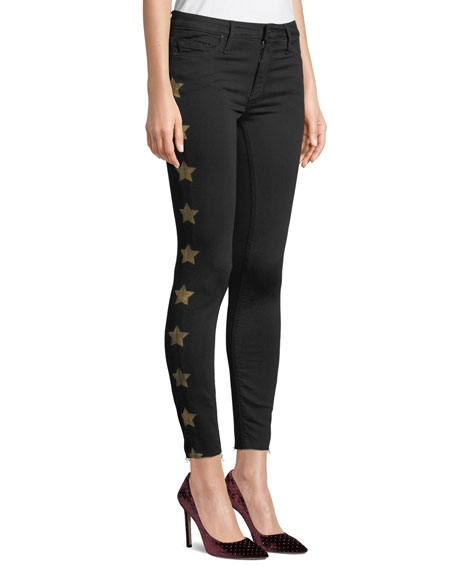 BLACK ORCHID Noah Ankle Fray Skinny Jeans With Metallic Stars in So Black