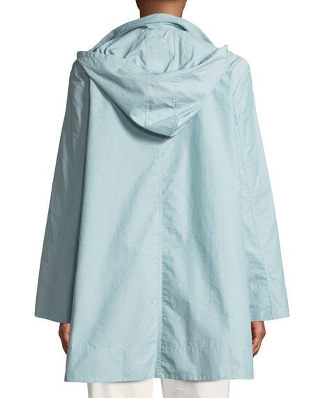Eileen Fisher Petite Hooded A-Line Long Outerwear Jacket
