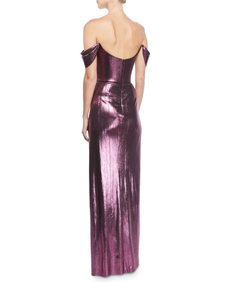 Marchesa Notte Off-the-Shoulder Metallic Lame Draped Gown