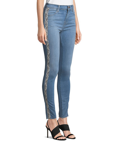 Maria High-Rise Skinny Jeans with Snake-Print Panels