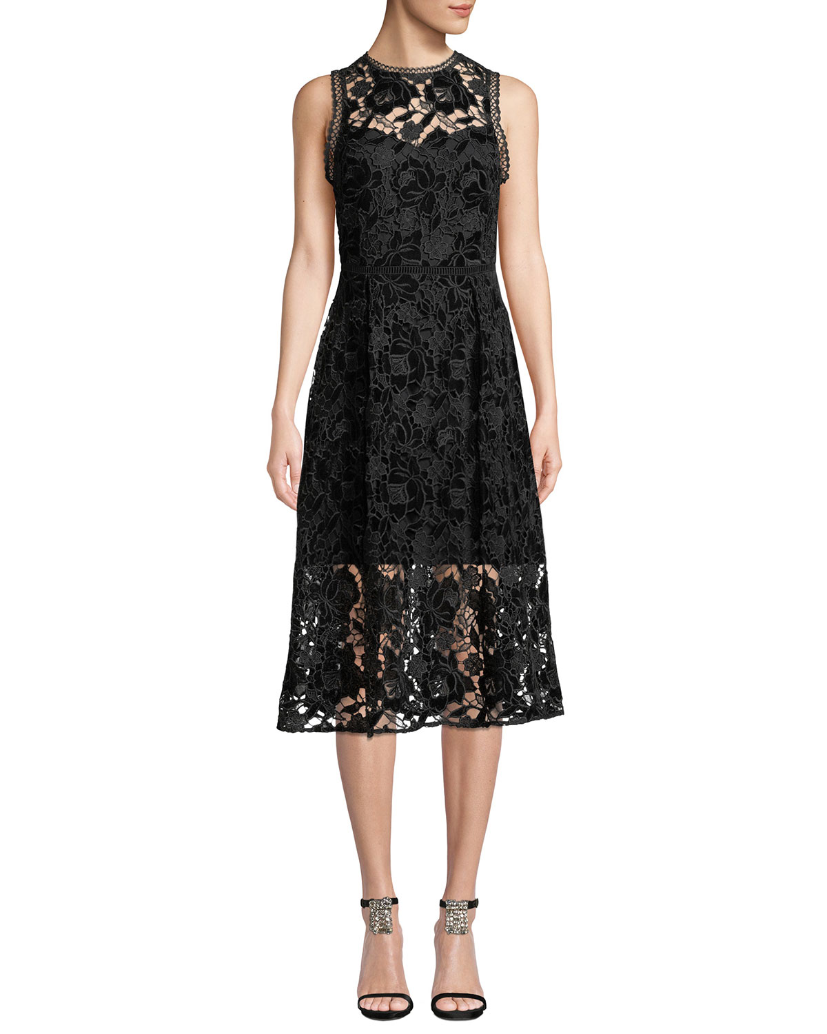 6074bbc854 Shoshanna Glengarry Velvet Floral Lace Sleeveless Dress | Neiman Marcus